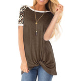 Women's Knotted Hem Tops Short Raglan Sleeves Boat Neck Loose Fit Casual