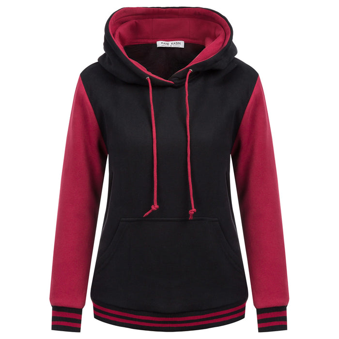 Kate Kasin Women Stylish Long Sleeve Contrast Color Hooded Coat Brushed Inside Hoodies