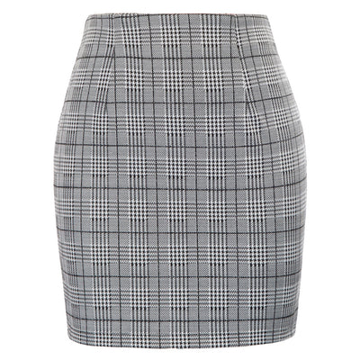 KK Sexy Women's Plaid Pattern Elastic Waist Hips-Wrapped Bodycon Pencil Skirt