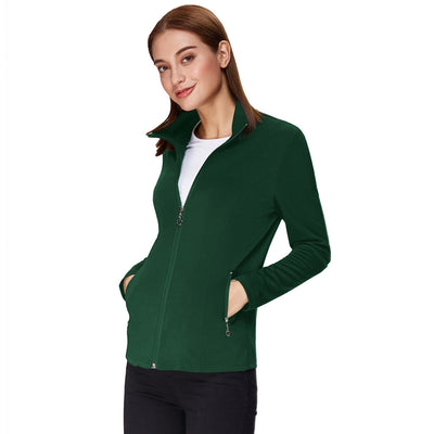 Kate Kasin Women's Stylish & Slim Fit Long Sleeve Stand Collar Zip-up Coat Tops