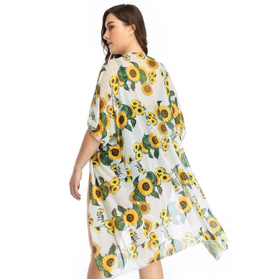 Kate Kasin Women Mesh Cover-up 1/2 Sleeve Open Front Semi See-Through Sunflower Pattern
