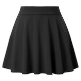 Kate Kasin Women's Mini Skater Skirt High Waist Flared A-Line Solid Color Sexy