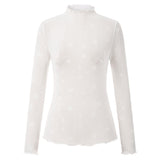 KK Sexy Women's Stars Pattern Long Sleeve See-Through Tops Clubwear