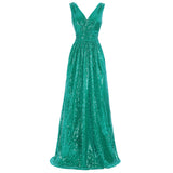 Kate Kasin Stunning Sequined Dress Sleeveless V-Neck Bridesmaids Wedding  Evening Prom Dress