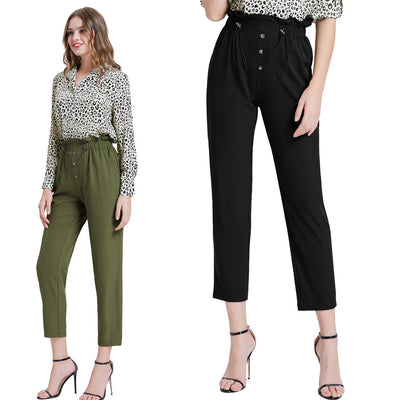 Kate Kasin Women's High-Rise Capri Cropped Pants Elastic Waist Buttons Decorated Casual