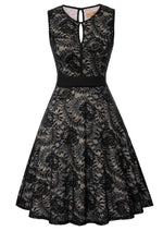 Kate Kasin Women's Sexy Dress V Neck Sleeveless Swing Skirt Floral Lace Elegant