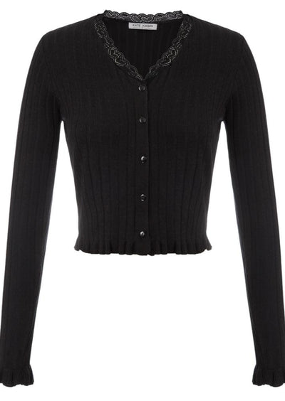 Kate Kasin Women's Cropped Cardigan Ribbed Knitwear Long Sleeve V-Neck Button Placket
