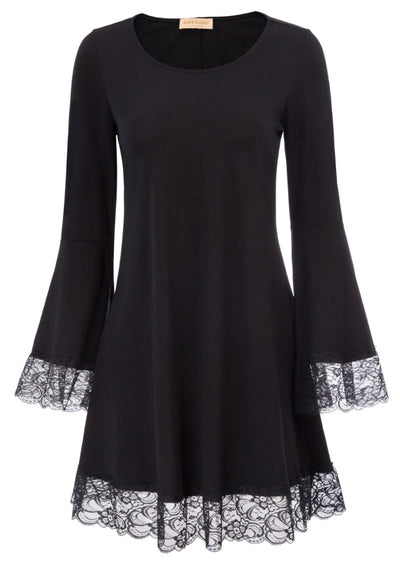 Womens Long Bell Sleeve O Neck Medieval Lace Frill Cotton A-Line Dress PLUS SIZE