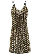 Kate Kasin Women's Sequined Mini Dress Sparkling Sequins Spaghetti Straps Sexy V-Neck