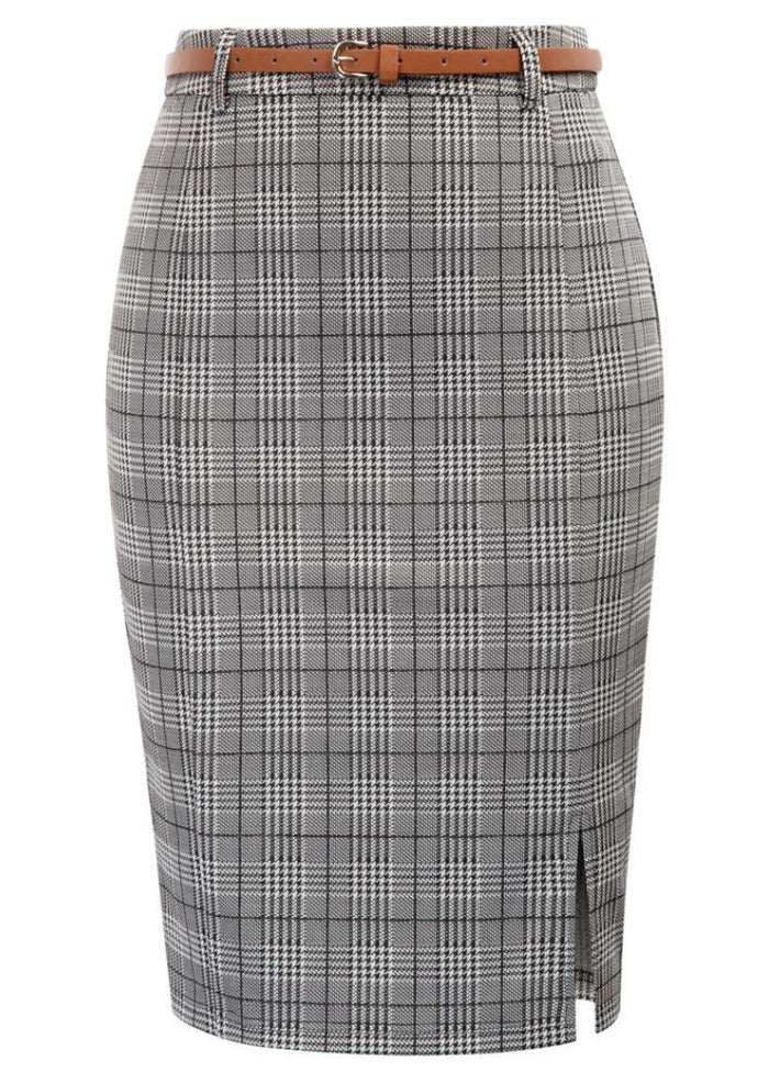 Kate Kasin Women's Grid Pattern Belt Decorated Hips-wrapped Bodycon Pencil Skirt