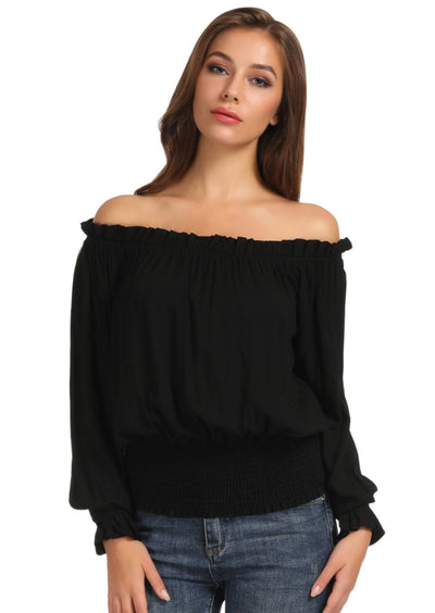 Kate Kasin Women Ruffles Gothic Tops Rayon Steampunk Off Shoulder Shirt Blouse