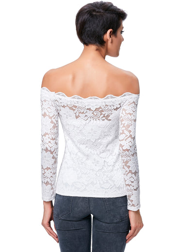 Sexy Women's Long Sleeve Floral Lace Off Shoulder Blouse Slim Fit Lady's Tops