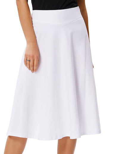 Kate Kasin Womens Stretchy Cotton High Waist A-line Flared Skirt Midi Dress L