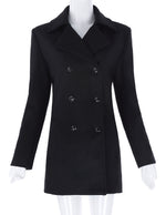 Kk Women Ladies Winter Warm Double-breasted Wool Blends Trench Coat Parka Tops