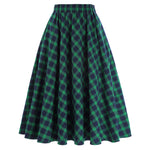 Kk Women's Vintage Stylish Grid Pattern Plaid Green Cotton A-line Skirt