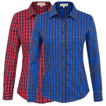 Spring Fashion Women Long Sleeve Plaid T-shirt Blouse Grid Casual Shirt Tops Hot