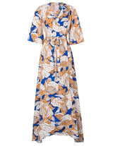 Sexy Women's Lady Summer 3/4 Sleeve V-neck Tie-waist Split Maxi Chiffon Dresses