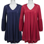 High Grade Sexy Women's Casual Loose Long Sleeve V-neck High-low Dress Clearance