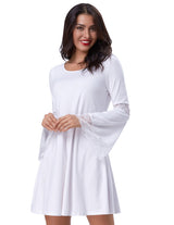 Sexy Women's Casual Loose Long Bell Sleeve Evening Party Cotton A-line Dress G1