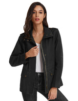 Women Classic Turn-Down Collar Bomber Jacket Zip Up Biker Coat Solid Color Tops