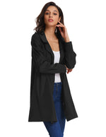 Fashion Womens Loose Long Sleeve Jacket Windbreaker Waterproof Rain Hooded Coat