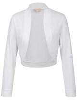 Kate Kasin Women's Basic Long Sleeve Open Front Cropped Cotton Coat Tops Bolero Shrug