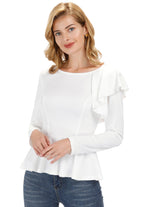 Kate Kasin Fashion Ladies Long Sleeve Ruffle Decorated Flared Hem T-shirt Tops