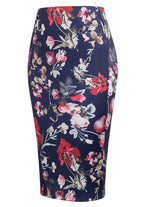2018 Women's Ol Floral Bodycon Comfort Elastic High Waist Midi Pencil Skirt S~xl