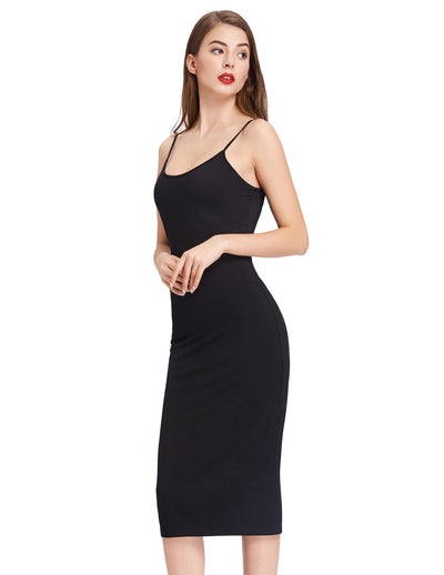 Womens Sexy Stretch Spaghetti Strap Plain Long Tank Top Slim Bodycon Mini Dress