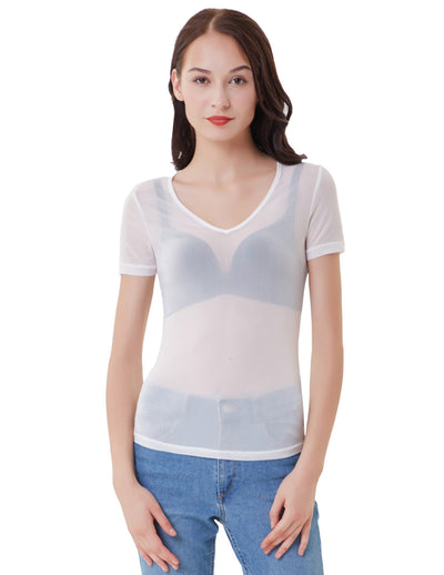 Sexy Womens Short Sleeve V-Neck Transparent Mesh T-Shirt Tee See Through Tops