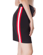 2018 Women Contrast Color Striped Side Hips-Wrapped Bodycon Pencil Sport Skirt