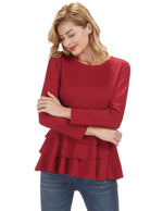 Elegant Womens Long Tunic Tops Ruffled Hem Long Sleeve Crew Neck Swing Blouse