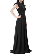KK Women's Cap Sleeve Floral Lace & Chiffon Evening Formal Party Maxi Dress 1 Pc