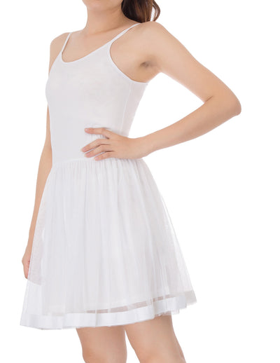 Hot Sexy Womens Comfy Sling Cotton+Tulle Netting Cami A-Line Dress Black/Ivory
