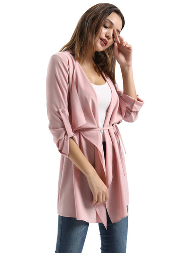 Women Solid Waterfall Collar Open Front Jacket Trench Coat Outerwear Wrap Belted