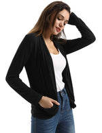 Women Spring Fall Open Front Coat Cardigan Top Long Jacket Irregular Hem Outwear