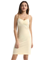 Womens Comfy Spaghetti Straps V-Neck Full Slip Dress Solid Oversize Leisure New