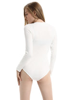 KK Women's Long Sleeve Buttons V-Neck Stretchy Bodysuit Teddy Leotard