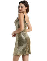 Sexy Women Spaghetti Strap Glitter Sequined Bodycon Evening Party Dress Clubwear