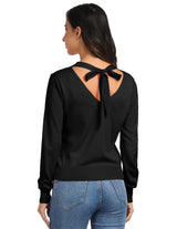 KK Womens Long Sleeve V-Neck Bow-knot Decorated Knitting Coat Knitwear Cardigan