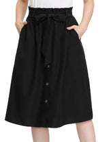 KK Womens Casual Elastic Waist Belt Buttons Down Hight Waist A-Line Midi Skirt