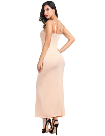 Women Casual Bodycon Long Dress Spaghetti Straps Slip Cami Dresses Nightwear