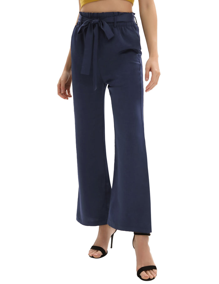 Women Wide Leg Pants Solid Color Elastic Waist Casual Trousers With Pocket Hot