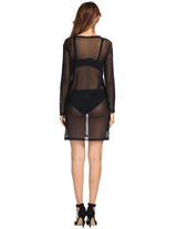 Sexy Womens See Through Dress Long Sleeve Summer Cover-up Tunic Tops Dresses
