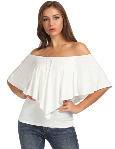 KK Sexy Women's Casual Comfy Off Shoulder Big Drape Decorated Rayon Tops
