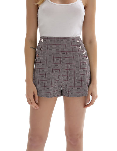 KK Women's Grid Pattern Metal Buttons Decorated Shorts Short Pants With Pockets
