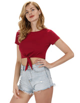 KK Sexy Women's Summer Short Sleeve Crew Neck Tie Details Cotton Cropped Tops