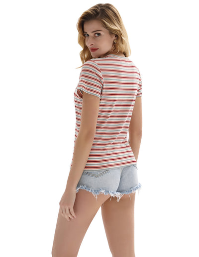 Womens Stretchy Fit Casual Striped Short Sleeve Crew Neck Knitting T-Shirt Tops