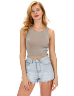 Womens Shiny Sleeveless Vest Stretch Cropped Tank Tops T-shirt Casual Clubwear