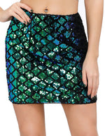 Kate Kasin Women's Stunning Sequined Elastic Waist Back Zip-Up Hips-Wrapped Mini Skirt